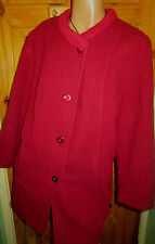 EASTEX CRIMSON LAMBSWOOL LINED COAT + KNITTED COLLAR SIZE 16 BNWOT