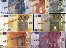 EURO 5 10 20 50 100 200 500 EUROS EURO SPECIMENS OVERPRINTED SOUVENIR BILLS SET