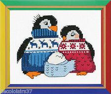Riolis  HB128  Famille de Pingouins  Point de Croix  Compté facile pour débutant