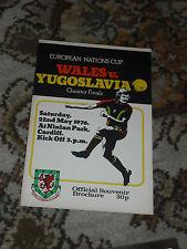 Wales Yugoslavia European Championships Quarter Final Programme 1976