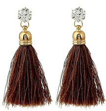 Bohemian Brown Dangle Golden Glass Stud Earrings with Polyester Tassels # 1009