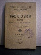 Angelo Poliziano, STANZE PER LA GIOSTRA ORFEO,  Oreste Garroni, 1912.
