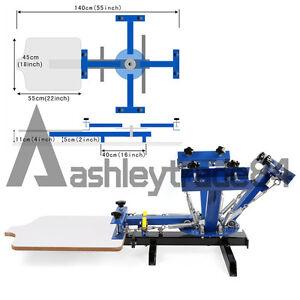 4  Color 1 Station Silk Screen Printing Press Printer T-Shirt Flat Surface DIY