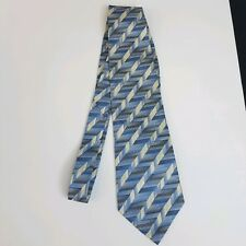 Van Heusen Mens Tie Blue Ivory Stripes 100% Silk Classic Length
