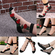 F Women Fashion Socks Lace Crystal Flower Silk Short Transparent Rose Sox Sexy