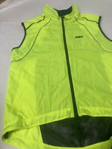 Louis Garneau Cycling Jersey Adult XL Men Vest Neon Green Black Full Zip