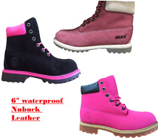 Womens Pink 6 Inch Waterproof Double Collar Work ankle Boots / black pink boots