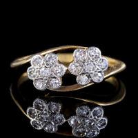 ANTIQUE EDWARDIAN DIAMOND FLOWER CLUSTER TWIST RING 18CT GOLD CIRCA 1905