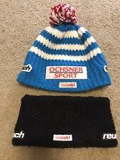 REUSCH Swiss Ski team Lot of 2 Winter Ski Hat & Headband Sz 58