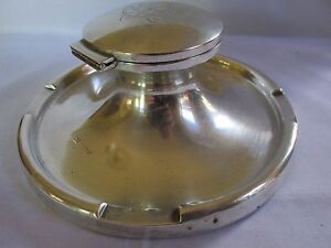 Large Heavy 1.2 K Antique Sterling Silver Inkwell Walker & Hall Engraved