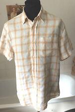 """Wolsey ~ 100% linen check summer button collar shirt s/sleeve ~ M - 40"""""""