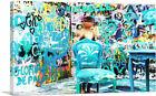 ARTCANVAS Graffiti Room Glitched Girl Canvas Art Print