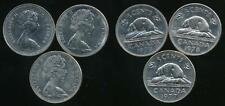 Canada, Group of 3 Elizabeth II 5 Cent Coins (1977, 1978, 1979) - Very Fine