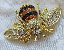 BEE BUG BROOCH PIN CLEAR BLACK ORANGE AUSTRIAN CRYSTAL GOLD TONE