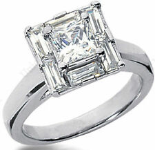 1.65 ct total Princess & Baguette DIAMOND Engagement Wedding 14k White Gold Ring