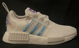 Adidas NMD R1 White Iridescent Women's Shoes [FY1263] Sizes 6W-9W New In Box!
