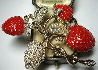 Large Vintage Style STRAWBERRY Fruit Red Enamel Crystal Jewellery BROOCH Pin
