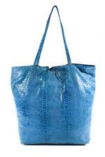 Fatto a Mano By Carlos Falchi Blue Leather Animal Print Tote