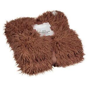 Mongolian Faux Fur Throw 130cm x 160cm Thermal Lined Blush