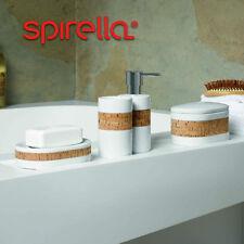 Spirella Nature Bathroom Accessory Set Soap Dispenser Dish White Cork Toothbrush