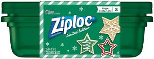 Ziploc Food Storage Container Limited Holiday Edition 2.25 QT Green 2 Count
