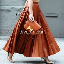 LAMBSKIN LEATHER LONG FLARED PLEATED SKIRT TAILOR MADE TO ANY SIZE JUPE EN CUIR