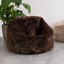 LARGE Children's Beanbag Chair Classic Shape - Luxury Soft Faux Fur BROWN