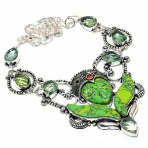 """Flying Goddess - Green Turquoise, Green Amethyst Jewelry Necklace 18"""" ZN-903"""