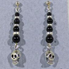 Sterling Silver Skull Dangle Earrings Graduated Black Onyx Bead Trim Halloween