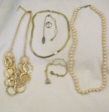 6 piece Estate lot gold plated chain, faux pearls, black Alaska diamond pendant+