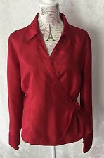 JM Collection Womens Size 14 Wrap Blouse Red Side Tie Long Sleeves E
