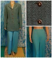 St. John Collection Knits Teal Blue Jacket Pants L 14 12 2pc Suit Black Buttons