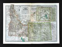 1902 Century Map Idaho Wyoming Boise Cheyenne Casper Yellowstone National Park