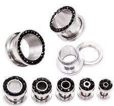 4-25 mm atornilla túnel Plug cristal pedrería negro plata acero inoxidable piercing