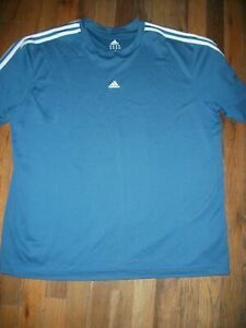 Adidas Activewear Top, Short Sleeve in Blue w/ White Accent - Size XL