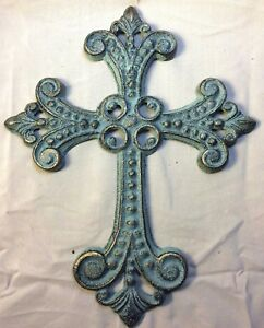 Antique Gold and Green Patina Celtic Cross, for wall mounting
