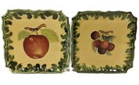 Set Of 2 Pizzato Hand Painted Made In Italy Square Snack Plates Apple Cherries