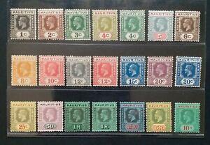 MAURITIUS 1922 KG V 1c to 10R SG 223 - 574 Sc 179 - 199 wmk MSCA set 20 +1 MLH