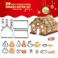 18PCs 3D Christmas Cookie Cutters Baking Moulds Gingerbread House Bakeware MoCR