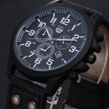 Vintage Classic Mens Waterproof Date Leather Strap Sport Quartz Army Watch Black