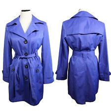 Gallery women's trench coat blue button front belted long sleeve size M (F-4)