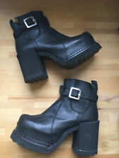 Vintage 90s Club kid Buffalo black buckle platform heel boots! Sz 39 7 8 9 Raver