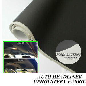 Dark Black Headliner Fabric Foam Car Upholstery Roof Lining Replacement 2Mx1.5M