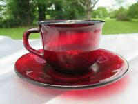 Vintage Arcoroc France Classique Cup & Saucer Set Ruby Red Glass