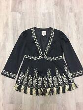 Anthropology nanette lepore Black Beige Floral Embroidered Fringe jacket Sz 2