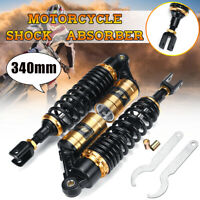 Pair 340mm Motorcycle Rear Air Shock Absorber Suspension For Honda Yamaha Suzuki