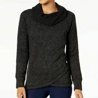 Ideology Noir Black Womens Fleece Cowl-Neck Long Sleeve Pullover Sweaters