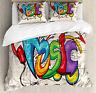 Retro Duvet Cover Set with Pillow Shams Music Graffiti Hip Hop Print