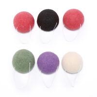 2X round natural konjac charcoal facial soft puff face washing cleansing spon np
