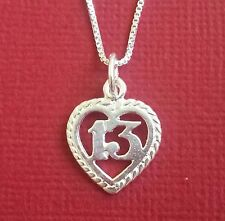 Sterling Silver 13 Necklace heart 925 number 13th Birthday Charm pendant n chain